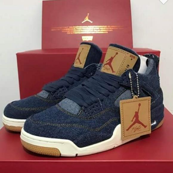 sports shoes 359f5 125da Levis blue denim nike jordan 4s size 7.5 In women